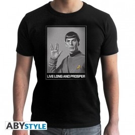 "STAR TREK - Tshirt ""Spock"" uomo SS nero - nuova vestibilità"