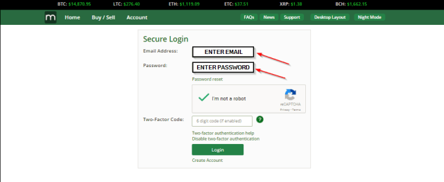 Login using email and password for BTC Markets