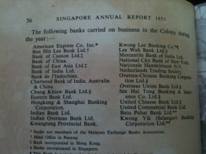 SINGAPORE YEARBOOK  BANKS 1953