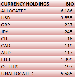 Currency Holdings of Foreign Reserves