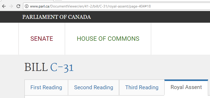 Parliament of Canada: Bill C-31 Canadian Trademark Law changes in 2017