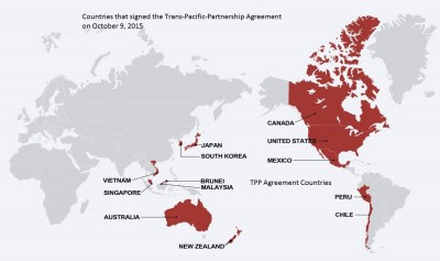 TPP Agreement Countries 2015: Australia, Brunei, Canada, Chile, Japan, Malaysia, Mexico, New Zealand, Peru, Singapore, the United States, and Vietnam