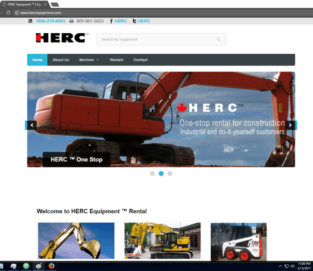 Herc Equipment Website on 2017 March 13