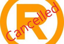 Cancelled trademark symbol