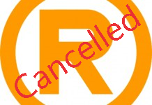 Cancelled trademark symbol