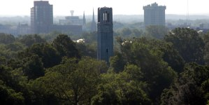 aerial view of nc state university belltower with raleigh in background