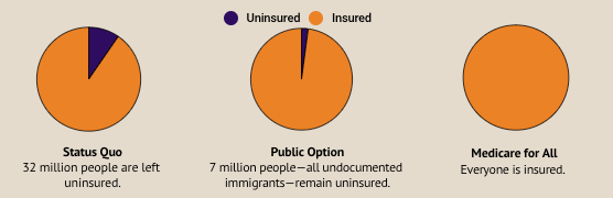 Pie charts showing insurance coverage changes