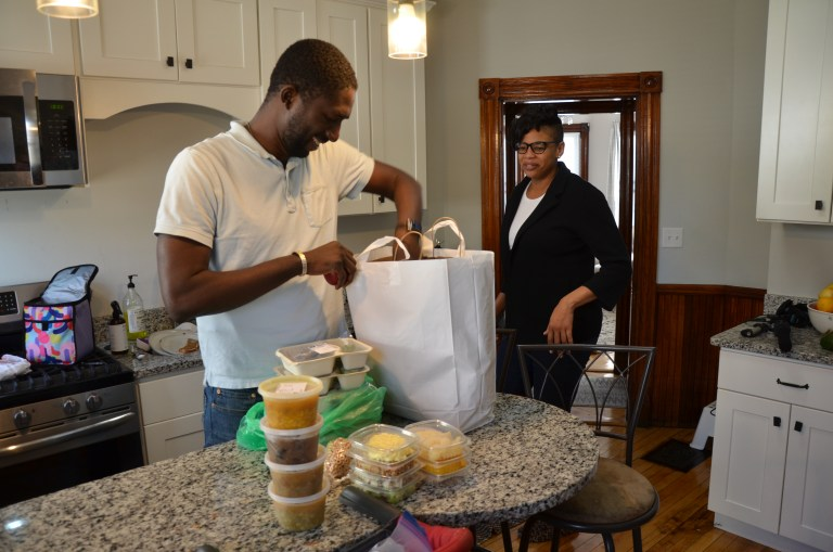 Since the beginning of this year, Dieme (pictured with his wife Desirée Allen) has received weekly deliveries of medically tailored meals from a Boston-area nonprofit. They include lunch, dinner, salads, snacks and fresh fruit for five days.
