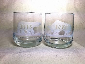 Initialed Bull and Bear Whisky Glasses