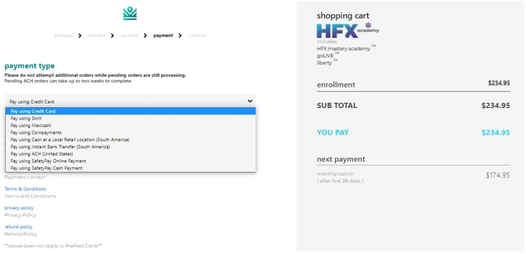 IML CUSTOMER Sign up - payment