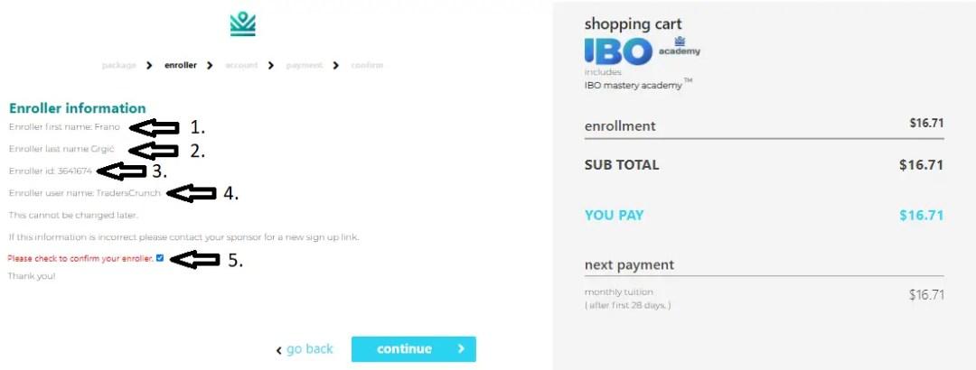 IML IBO Sign Up - enroller