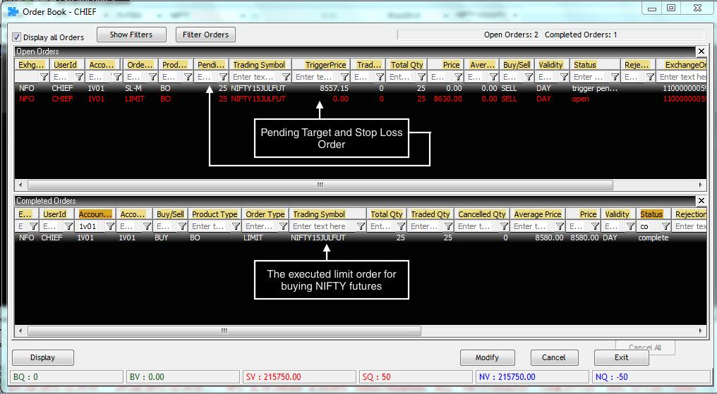 pending order bracket order limit order trailing stoploss market order