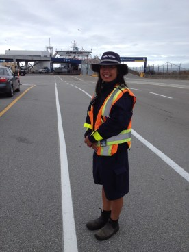 Her job is Terminal Attendant at BC Ferries. She's a single mom who likes her job. Benefits are good.
