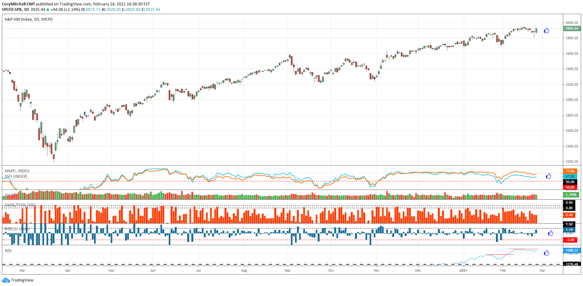 S&P 500 daily chart with market health indicators Feb 24