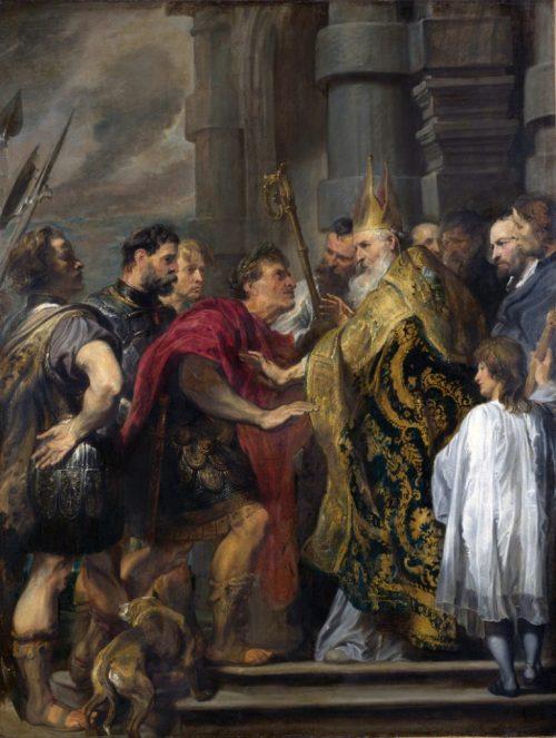 """""""Sv. Ambrozije zabranjuje caru Teodoziju ulaz u milansku katedralu"""", Antoon van Dyck (1619.)"""