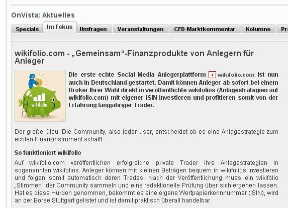 screen des Beitrages auf onvista.de