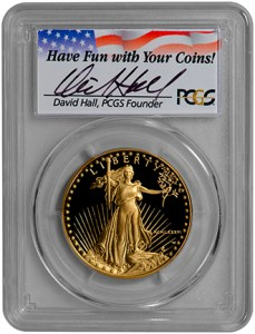 1986-W $50 Gold Eagle (PCGS-PR70DCAM) - David Hall - Obv