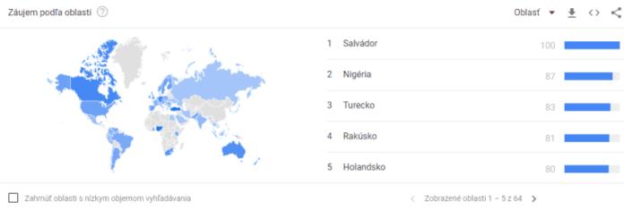 TOP 5 zemí s hledáním pojmu Bitcoin.