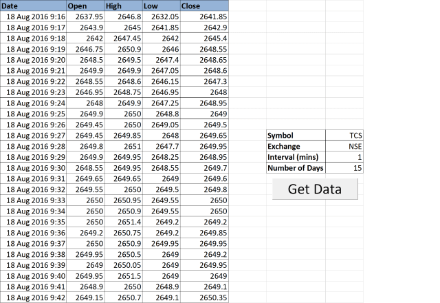 Stock Quotes in Excel via Google Sheets