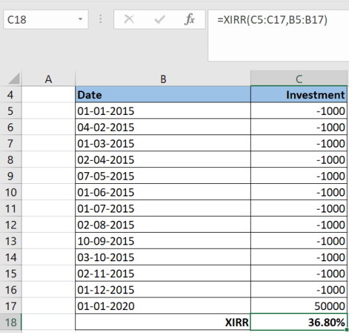 Calculate XIRR in an Excel Sheet 2