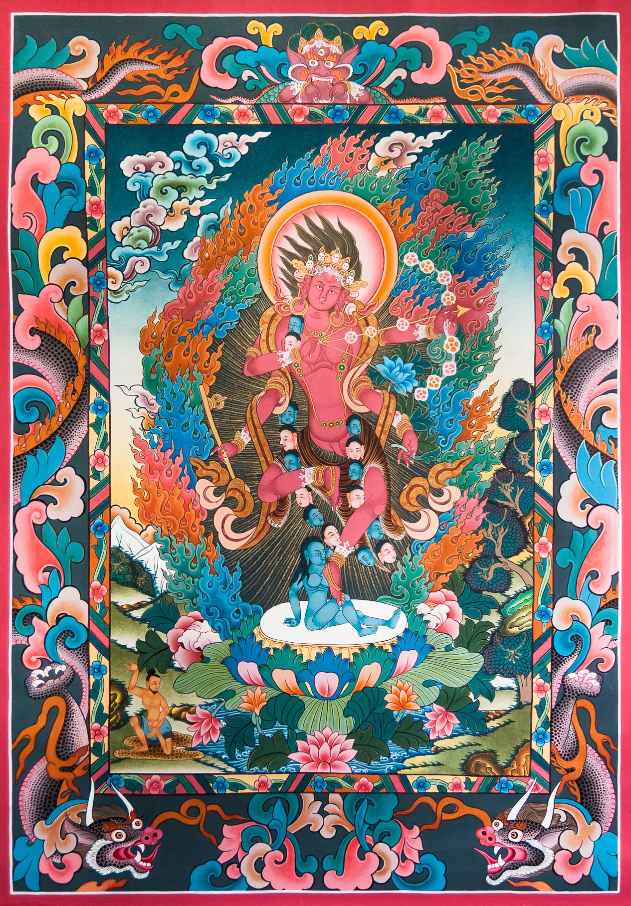 Dakini kurukulla tibetan thangka painting for Airbrushing mural
