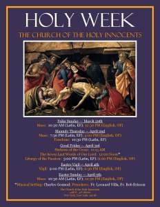 HolY week At Holy Innocents _2015_