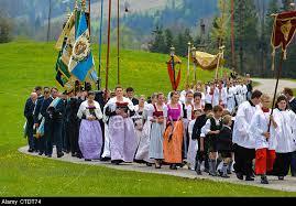 Catholic Flags On Procession