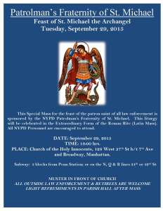 Flyer For The Feast of Saint Michael @ Holy Innocents NYC