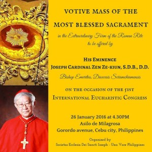 Cebu Phillipines Traditional Pontifical Mass For Eucharistic Congress 2016 - Poster