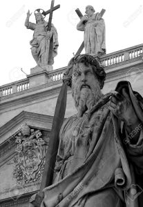 Saint Paul with sword drawn in St. Peter's square in Vatican City
