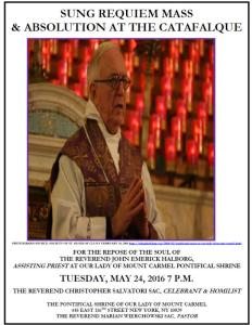 Requiem Mass For Father John Halborg At OLMC NYC
