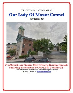 Traditonal Mass At Our Lady Of Mount Carmel, Yonkers NY