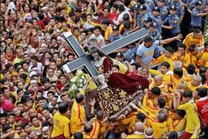 Black Nazarene On Procession In The Catholic Philipines