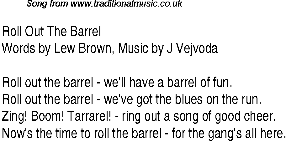 1940s Top Songs: Lyrics For Roll Out The Barrel Words By