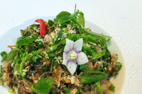 banana blossom salad with dried squid and chili jam