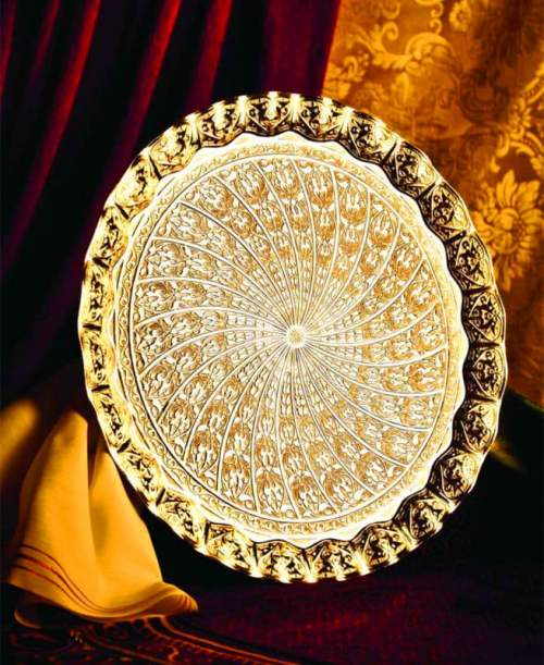 Gold Color Ottoman Style Round Tray