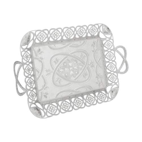 Ottoman Style Silver Color Tea Serving Tray