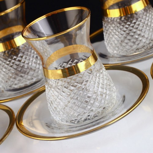 12 Pcs Vizyon Gold Color Cutting Turkish Tea Set