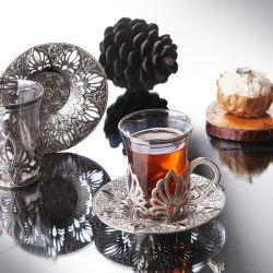 Silver Color Ahu Turkish Tea Cups Set For Six Person