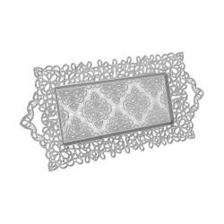 Silver Color Serving Tray For 2 Glasses