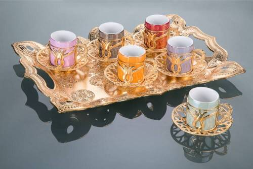 Colorful Tulip Design Gold Color Coffee Cups Set With Tray
