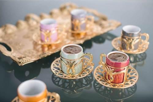 Colorful Tulip Design Gold Color Coffee Cups Set