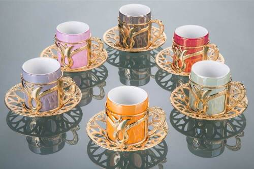 Colorful Tulip Design Gold Color Coffee Cups Set