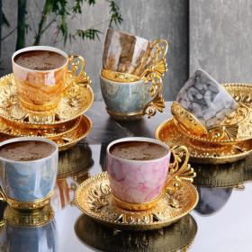 Colorfull Marble Design Luxury Gold Color Coffee Set