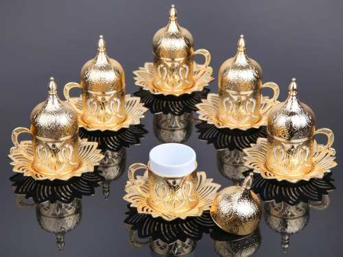 Gold Color Coffee Cups Tulip Design Six Person