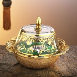 Gold Colour Vintage Style Snack Bowl With Glass Lid