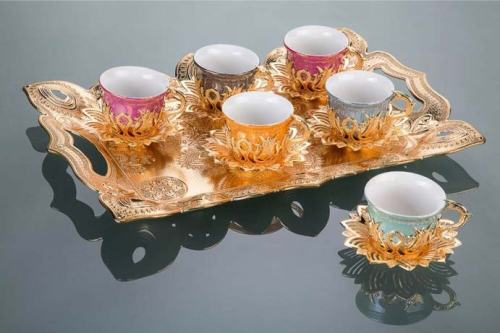 Colorful Tulip Design Gold Color Coffee Set With Tray
