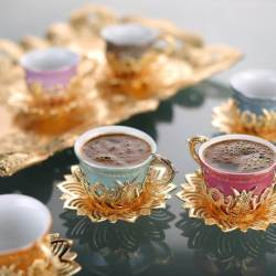 Colorful Tulip Design Gold Color Coffee Set