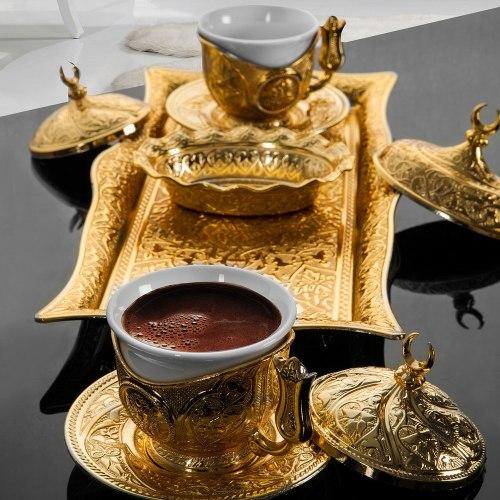 Lalezar Gold Color Turkish Coffee - Espresso Set For Two Person