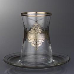 White Gold Plated Nida Arabic Tea Glasses Set